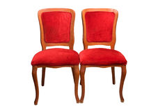 Antique theater chairs. Elegant wooden red theater chairs front view Stock Photo