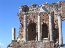Antique theatre, taormina, etna. Sicily, italy stock image