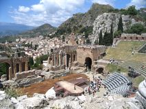 Antique theatre, taormina, etna Stock Photography
