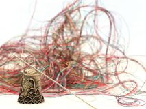 Antique Thimble and Thread Royalty Free Stock Photos