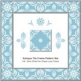 Antique tile frame pattern Blue White Fan Shape Lace Flo Royalty Free Stock Photos