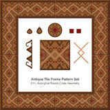 Antique tile frame pattern set_011 Aboriginal Round Cross Geometry Royalty Free Stock Images