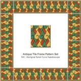 Antique tile frame pattern set Aboriginal Spiral Curve Kaleidosc Royalty Free Stock Image