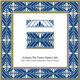 Antique tile frame pattern set Blue Check Geometry Frame Flower Stock Photography