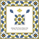 Antique tile frame pattern set_236 Blue Leaf Cross Kaleidoscope Royalty Free Stock Photography