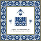 Antique tile frame pattern set Blue Spiral Curve Garden Vine Flo Stock Photo