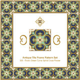 Antique tile frame pattern set_305 Exotic Green Curve Spiral Cross Flower Royalty Free Stock Images