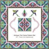 Antique tile frame pattern set_207 Flower Vine Kaleidoscope Stock Images
