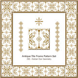 Antique tile frame pattern set_268 Golden Star Geometry Royalty Free Stock Image