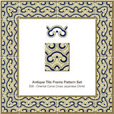 Antique tile frame pattern set Oriental Curve Cross Japanese Chi Royalty Free Stock Images