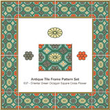 Antique tile frame pattern set Oriental Green Octagon Square Cro Royalty Free Stock Photos