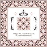Antique tile frame pattern set_200 Pink Spiral Kaleidoscope Stock Photo