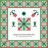 Antique tile frame pattern set_031 Red Flower Gree Calyx Stock Photos