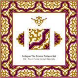 Antique tile frame pattern set_029 Royal Purple Golden Geometry Royalty Free Stock Images