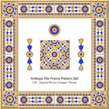 Antique tile frame pattern set_229 Square Round Octagon Flower Royalty Free Stock Image