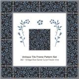 Antique tile frame pattern set_362 Vintage Blue Spiral Curve Flower Vine Royalty Free Stock Photography