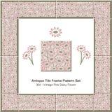 Antique tile frame pattern set_364 Vintage Pink Daisy Flower Stock Photos