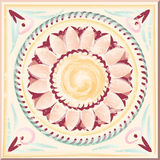 Antique tile hand painted. Antique tile with floral pattern. Vector graphics Royalty Free Stock Photos