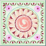 Antique tile hand painted. Antique tile with floral pattern. Vector graphics Royalty Free Stock Image