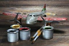 Antique tin toy plane Stock Photo