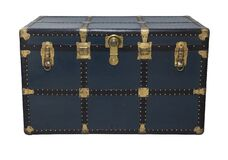 Free Antique Tin Travel Trunk Steamer Chest Closed Royalty Free Stock Images - 207018069