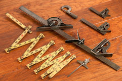 Antique tool arrangement, measuring devices Royalty Free Stock Photo