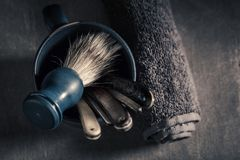 Antique tools for barber with foam, razor and brush stock photo