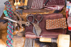 Antique tools for leather Royalty Free Stock Photo