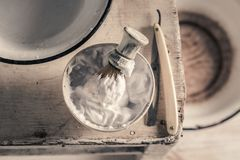 Antique tools for shave with brush, razor, soap royalty free stock photos