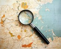 Antique topographical map stock photo