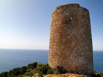 Antique tower of Cerro Gordo, spain. In front of the sea Stock Photography