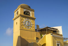 Antique tower clock in Capri Island, Italy royalty free stock photo