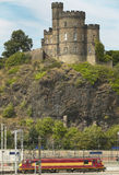 Antique tower and train line in Edinburgh, Scotland. UK Stock Images