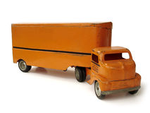 Antique Toy Moving Truck. On white royalty free stock images