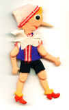 Antique toy Pinocchio puppet with a long nose Stock Images