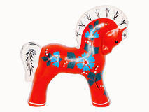 Antique Toy Red Horse. Isolated on a white background Stock Images
