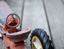 Antique Toy Truck. On wooden porch Stock Photo