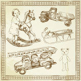 Antique toys. Hand drawn collection Royalty Free Stock Photos