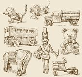 Antique toys-original hand drawn collection Royalty Free Stock Photos