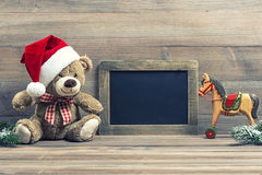 Free Antique Toys Teddy Bear And Wooden Rocking Horse Stock Photography - 35805312