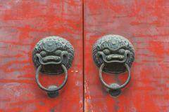 Antique traditional Chinese door style handle knocker with brass Stock Photos