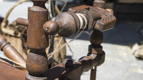 Antique, traditional spinning wheel for wool yarn, craft ancient Royalty Free Stock Images
