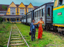 Antique train transport tourist to visit in Dalat Stock Images
