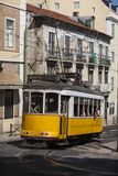 Antique tram in Alfama Lisbon, Portugal, 2012 stock images