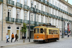 Antique tram in downtown Porto, Portugal Royalty Free Stock Images