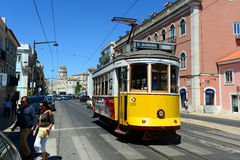 Antique Tram in Lisbon, Portugal Royalty Free Stock Photography