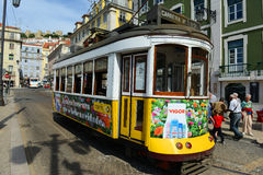 Antique Tram in Lisbon, Portugal Stock Photo