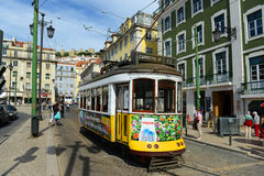 Antique Tram in Lisbon, Portugal. Antique Tram No.12 at Praça da Figueira (Square of the Fig Tree) in Lisbon, Portugal Stock Photos