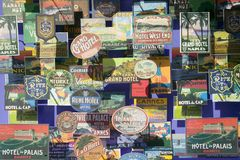 Antique travel post cards are seen three dimensionally in window in Barcelona, Spain Royalty Free Stock Photo