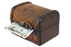 Antique treasure chest with dollar bill Royalty Free Stock Photos